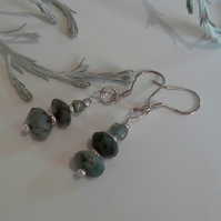 Emerald (Natural) Sterling Silver Earrings