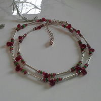 Genuine  Ruby, RareTvavorite Garnet & Red Spinel Sterling Silver Necklace