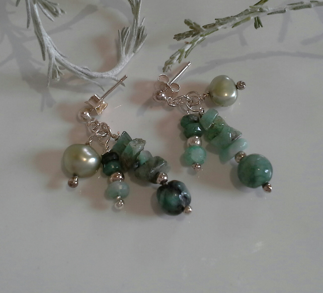 Emerald (Natural) & Freshwater Pearl Earrings Sterling Silver