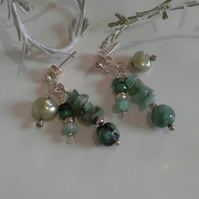 SALE ITEM Emerald (Natural) & Freshwater Pearl Earrings Sterling Silver