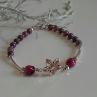 Genuine Natural Untreated Ruby & Baroque Pearl Sterling Silver Bracelet
