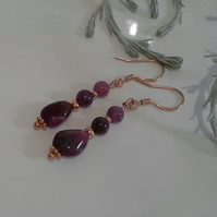 Ruby (Natural) &  Rose Gold Vermeil Earings 925 silver