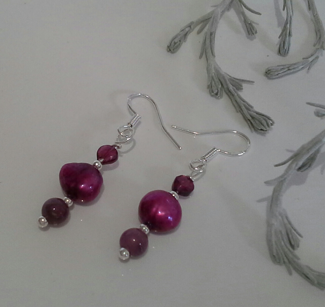 Ruby ( Natural), Freshwater Pearl & Rhodolite Garnet Drop 925 silver earrings