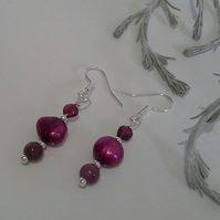 Ruby ( Natural), Freshwater Pearl & Rare Rodolite Garnet Drop 925 earrings