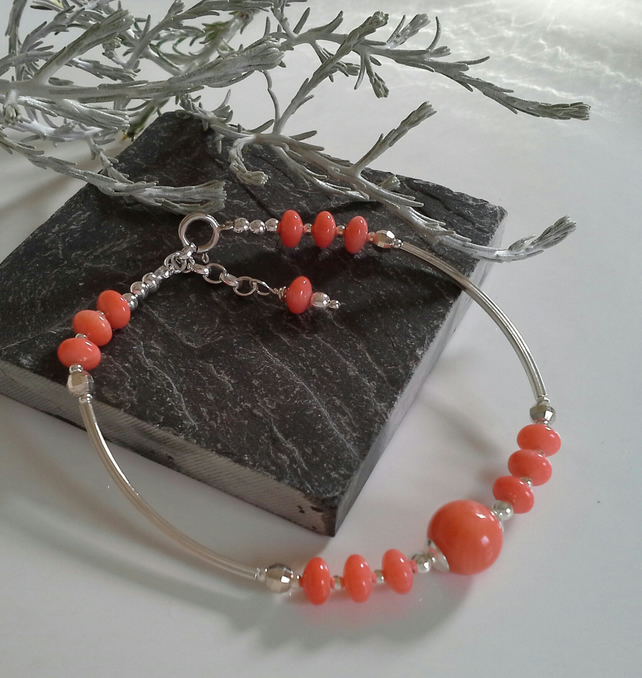 Genuine Peach Coral Sterling Silver Bracelet Free size