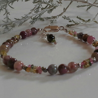 Genuine Watermelon Tourmaline Sterling Silver Bracelet