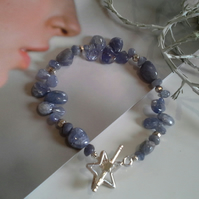 "Tanzanite Sterling Silver Star Bracelet 7.5"" inches"