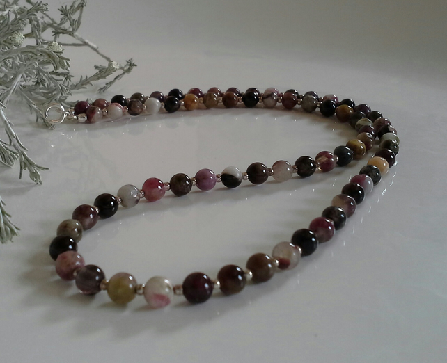 Multicoloured Tourmaline Sterling Silver Necklace