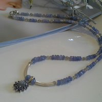 AA GRADE Tanzanite & Moonstone Sterling Silver Necklace