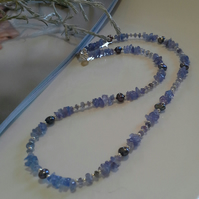 AA Tanzanite & Freshwater Pearl Sterling Silver Necklace