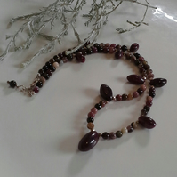 Natural Untreated Ruby & Tourmaline Sterling Silver Necklace