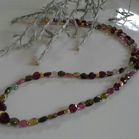Genuine Tourmaline & Rhodolite Garnet  Gold Vermeil Necklace