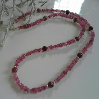 Pink Tourmaline Sterling Silver Necklace