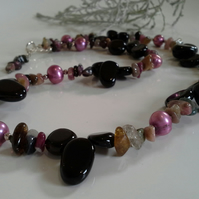 Tourmaline, Black Agate & Freshwater Pearl 925 Necklace & Bracelet Set