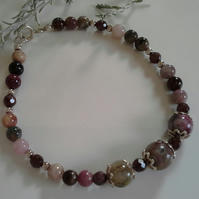 Tourmaline & Indian Red Garnet Sterling Silver Bracelet (Medium Size)