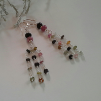 Tourmaline Sterling Silver Dangle Drop Earrings