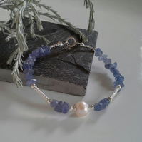 Tanzanite & Freshwater Culture Pearl Sterling Silver Bracelet