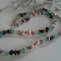 Tanzanite, Freshwater Pearl & Apatite Sterling Silver Necklace