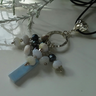 Blue Opal & Freshwater Pearl Charm Pendent Sterling Silver