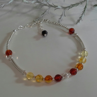 Shades of  Balitic Amber Sterling Silver Bracelet