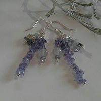 SALE ITEM Tanzanite &  Aquamarine Sterling Silver Earrings