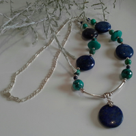 Turquoise (Stab; & Recon;)  Lapis Lazuli Necklace 925 Sterling Silver