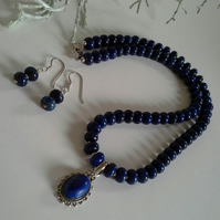 Lapiz Lazuli Necklace & Matching Earings Sterling Silver Set