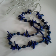 Lapis lazuli  Sterling Silver Necklace