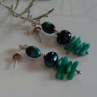 Turquoise (Stabilised) Pearl, & Dyed Farmed Coral Sterling Silver Earrings