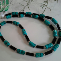 Turquoise (Stabilised) & Black Onyx Sterling Silver Necklace