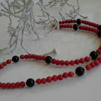 Genuine Coral & Black Onyx Necklace 925 Sterling Silver
