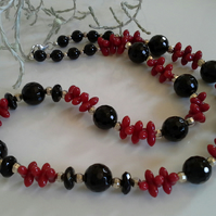 Red Coral & Faceted Black Onyz Sterling Silver Necklace