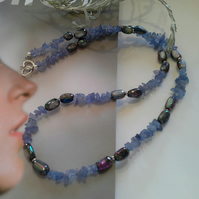 Tanzanite & Culture Pearl Sterling Silver Necklace
