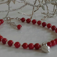 Red Coral & Silver Heart Sterling Silver Bracelet
