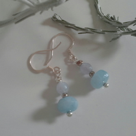 Dainty AA Grade Aquamarine Sterling Silver Earrings