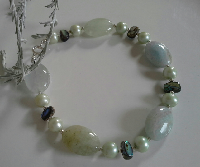 Aquamarine, Freshwater Pearl, Abolone Shell Sterling Silver Bracelet