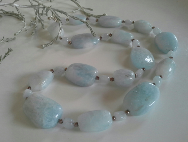 Chunky Genuine  Aquamarine Sterling Silver Necklace