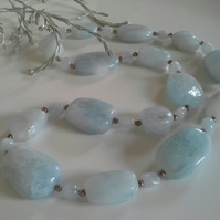 Luxery Statement Genuine  Aquamarine Sterling Silver Necklace