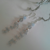 Aquamarine Sterling Silver  Waterfall Design  Earrings