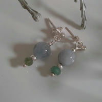 Aquamarine & Emerald Sterling Silver Stud Drop Earrings