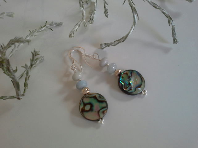 Abalone Shell & Aquamarine Sterling Silver Earrings