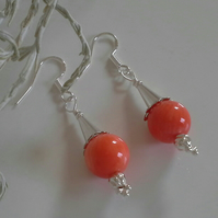 Peach Coral Sterling Silver Earrings