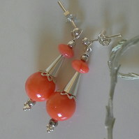 Peach Coral Sterling Silver Stud Earrings