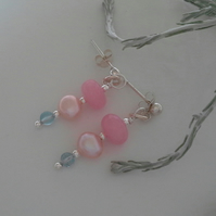 Pink Jade, Apatite & Freshwater Culture Pearl Stud  Earrings