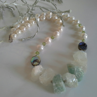 Aquamarine,  Freshwater Pearl, Peridot & Abalone Shell Sterling Silver Necklace