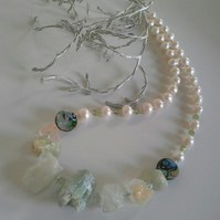 Aquamarine,  Freshwater Pearl,  Peridot,  Abolone Shell Sterling Silver Necklace