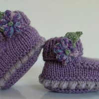Luxery Baby Girls Pure 'Jeager' Aran Wool Booties  0- 3 months size
