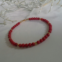 SALE ITEM Red Coral Gold Vermeil  Bracelet