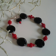 Coral & Faceted Large  Black Onyx Sterling Silver Bracelet