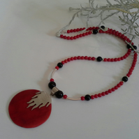 Red Coral & Black Onyx Sterling Silver  Necklace